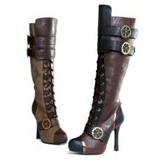 DIY Steam punk boots-Idea- take regular high boots and decorate. I'm going to try......wish me luck
