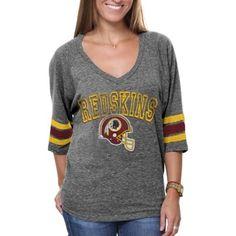 Washington Redskins Ladies Baby Jersey Tri-Blend Long Sleeve V ...