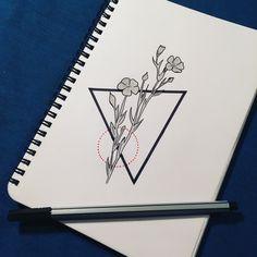 Geometric tattoo with flowers, triangle, minimalism tattoo