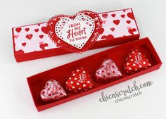 How to Make a Candy Heart Box with Chic n Scratch, Stampin' Up! Demonstrator Angie Juda My project for you today is this Candy Heart Box that will also hold all sorts of candy or some tea light… Valentine Treats, Valentine Day Crafts, Kids Valentines, Valentine Cards, Candy Crafts, Paper Crafts, Cumpleaños Diy, Tea Light Candles, Crafty Projects