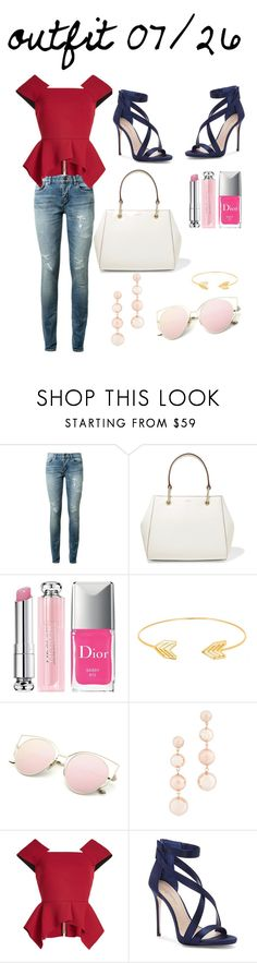 """""""American Girl"""" by fredericaehimen ❤ liked on Polyvore featuring Yves Saint Laurent, DKNY, Christian Dior, Lord & Taylor, Rebecca Minkoff, Roland Mouret and Imagine by Vince Camuto"""