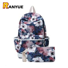 Korean Canvas Flower Printing Backpack Women School Bags For Teenage Girls School  Backpack Set Mochilas Feminina Bagpack+Purse ed8ebba9865b0