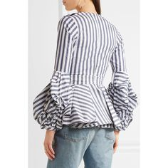 Johanna Ortiz St. Barts ruffled stretch-cotton poplin top ($1,045) ❤ liked on Polyvore featuring tops, blouses, polka dot blouse, sequin peplum top, ruched blouse, peplum tops and oversized blouse