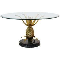 View this item and discover similar for sale at - A truly eye-catching, unusual brass metal table, fashioned in the shape of a Pineapple on an elegant marble base and with a glass top. Glass Marbles, Brass Metal, Cocktail Tables, Table Furniture, 1970s, Pineapple, Dining Table, Sculpture, Antiques