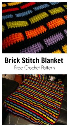 Crochet Afghans Design Brick Stitch Afghan Blanket Free Crochet Pattern - This Brick Stitch Free Crochet Pattern is special and beginner friendly. You can learn the Brick stitch in a Photo and Video Tutorial very easily. Crochet Afghans, Motifs Afghans, Crochet Stitches Patterns, Afghan Crochet Patterns, Crochet Designs, Free Crochet, Knit Crochet, Tunisian Crochet Blanket, Crochet Quilt