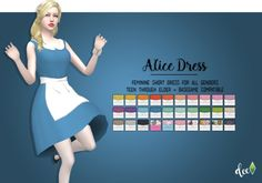 Sims 4 Updates: Deetron Sims - Clothing, Female : Alice Dress, Custom Content Download!