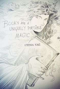 'Books are a uniquely portable magic' - Stephen King quote drawn by Children's Laureate 2015-17 Chris Riddell (copyright)