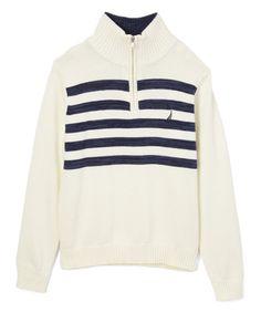 Sail Cream Stripe Quarter-Zip Sweater - Boys #zulily #zulilyfinds