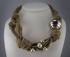 Necklace linen thread knots metal matt silver colored by espurna88, €25.90