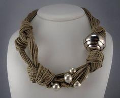Necklace linen thread knots metal matt silver colored by espurna88, €25.90