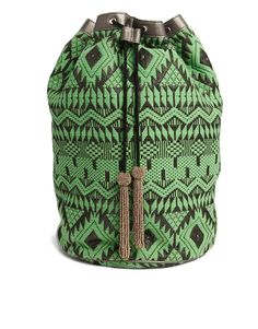 ASOS Metallic Trim Duffle Backpack in Aztec