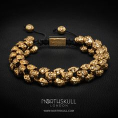 Our special Gold & Clear Swarovski Crystal Skull 'Swarm' Bracelet is designed with our unique handcrafted skull design. Created with meticulous attention to detail, this piece features a precision cut clear Swarovski crystal set in each eye of every skull; it's a stand out statement piece that will adorn the wrist elegantly | Available now at Northskull.com [Worldwide Shipping] #Luxury #Jewelry #MensFashion