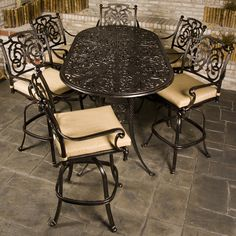 Relax in style on your patio with the St. Augustine Bar Height Collection.  This dining set uses prime grade cast aluminum that is engineered to last the ages.