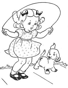 "Jumping rope alone or with friends. (from the book ""Favorite Paint Book - Little Girls"" book and drawing sby Mary Alice Stoddard : via the blog ""Q is for Quilter"")."