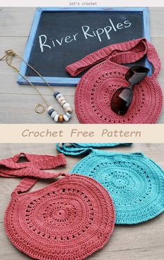 crochet handbags River Ripples Bag Crochet Free Pattern is a great project to DIY a stylish and useful bag. This simple design is perfect for young girls or teenagers. Mochila Crochet, Bag Crochet, Crochet Fabric, Crochet Handbags, Crochet Purses, Crochet Gifts, Free Crochet, Crochet Purse Patterns, Knitting Patterns
