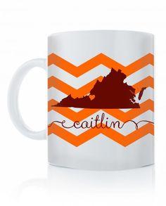 virginia tech state love coffee mug with chevron