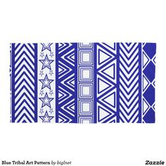 Blue Tribal Art Pattern Pillowcase