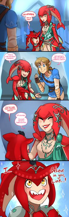 Believe In Link by Scarletify on DeviantArt<<Aww little Sidon is so cute