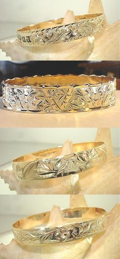 Bracelets 110635: 12Mm Fm 14K Yellow Gold Hawaiian Heirloom Custom-Made Engraved Bangle 6.5-9.0 BUY IT NOW ONLY: $1375.0