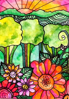 Green Valley 8 x 10 bird print  flowers art door RobinMeadDesigns, $20.00