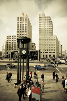 The first traffic light in the world. Potsdamer Platz. Berlin, Germany