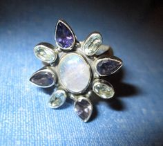RING - MOONSTONE - Surrounded by Fire OPALS and Blue Topaz - 925 - Sterling Silver - size 8 1/2 moonstone 408 by MOONCHILD111 on Etsy