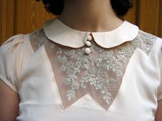 blouse detail. via Stella*Polaris on Flickr. #blouse #lace #collar