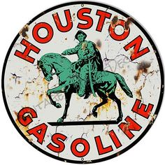 Metal Tin Sign round houston gasoline Bar Pub Retro Poster 30cm diameter