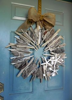 """Driftwood Wreath with shells and starfish 24 """" by RedRobynLane – DRİFTWOOD Driftwood Wreath, Driftwood Projects, Driftwood Art, Starfish Wreath, Coastal Wreath, Driftwood Christmas Tree, Plage Art Mural, Water Based Wood Stain, Beach Wood"""