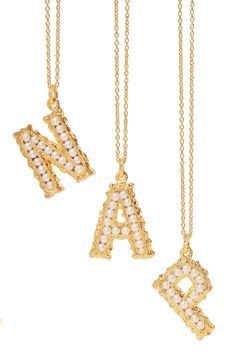 Gold Alphabet gold-plated pearl necklace | Pacharee | NET-A-PORTER