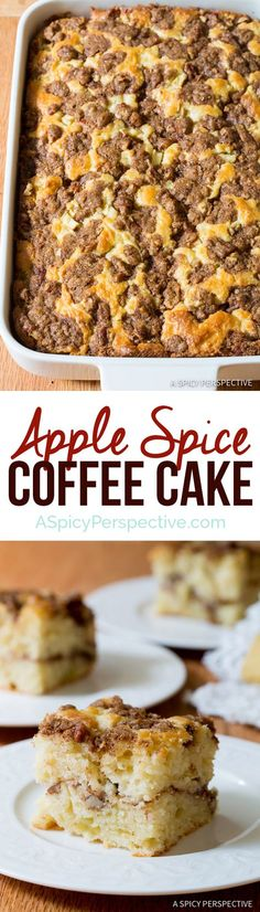 Apple Spice Coffee Cake -  juicy chunks of apple throughout, makes a fabulous weekend breakfast or casual party treat!