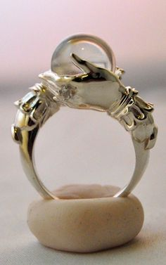 ☆ The Oracle.。Sterling Ring and Clear Quartz Sphereゝ。By Artist Keri Newton ☆LOVE IT!