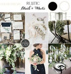 Rustic Woodland Black and White Winter Wedding with Gray and Green Accents