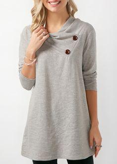 Button Embellished Long Sleeve Draped Sweatshirt | Rosewe.com - USD $32.61