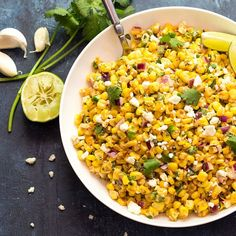 Creamy, cheesy and perfectly seasoned lightly charred corn with red onions, jalapenos and feta cheese.