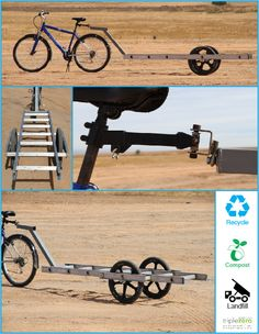 UC Merced Recycling and Sustainability has made a bike trailer out of a ladder! We use this daily to pick up loads of recycling around campus. It is a cool engineering project created by or own staff. Get to Zero Waste!