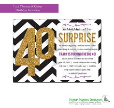 Surprise Party Invitation Chevron and Glitter DIY Printable Birthday Invitations for adults or teens               - Customize to any age and accent color -  by PaperPigeonDesigns