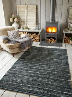 Cotton & Leather Rug, Dark Gray/Silver - Contemporary - Floor Rugs - by Nordic House Wooden Decor, Rustic Decor, Farmhouse Decor, Wood Burner, Fireplace Mantels, Fireplaces, Home And Living, Cozy Living, Living Spaces