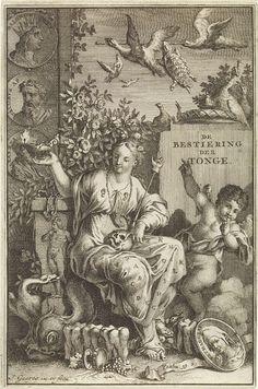 Jan Goeree | Allegorie op de spraak, Jan Goeree, Willem van de Water, 1714 | In het midden de gezeten personificatie van Spraak, gekleed in een jurk waarop het alfabet en twee oren. In haar schoot een schedel. Een putto staat naast haar en legt een vinger op zijn lippen, het teken voor zwijgen. Achter hem een steen met de titel van het boekwerk. Op de voorgrond een ovaal medaillon met het portret van Pythagoras. In de lucht vliegen vogels. Twee van vogels dragen een lange stok mee. Een…