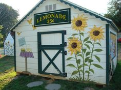 See my murals and creative painting projects in and around Doylestown and Bucks County. Garden Fence Art, Garden Mural, Painted Shed, Painted Fences, Barn Art, Sunflower Art, Mural Art, Outdoor Projects, Outdoor Walls