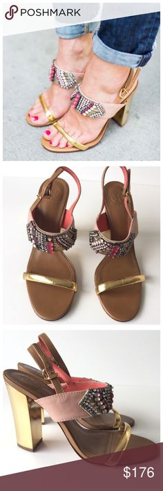 """Rare 💕 Tory Burch Jeweled Sandal Slingback Heels Pink and gold embellished Sandal heels by Tory Burch.  Features include leather construction, gold tone metal hardware, block heel, and ankle strap buckle closure.  Pink grosgrain ribbon detail on strap. Pink and silver rhinestone pattern. Leather insoles and outsoles.  Size 9.5. 4.75"""" heel height. Creases in leather throughout. Discoloration/ Scuffs on insoles and straps. Missing rhinestones on right shoe. Wear on outsoles. Natural wear due…"""