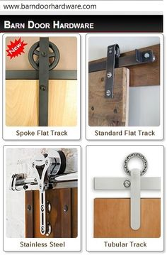 four categories of hardware for sliding doors at http://www.barndoorhardware.com/