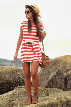 Red and white stripped mini dress with brown leather handbag and brown strapped sandals