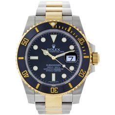 Pre-owned Rolex Yellow Gold Stainless Steel Submariner Black Ceramic... ($10,999) ❤ liked on Polyvore featuring jewelry, watches, wrist watches, waterproof watches, black bracelet, gold crown, triple crown and rolex watches