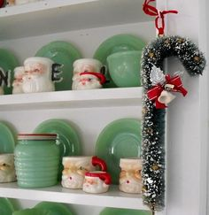 Jadeite and Santas and bottlebrush candycanes!!!