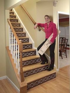 Decorative Stair Risers - traditional - staircase - cincinnati - One Step Beyond