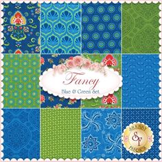 "Fancy 12 FQ Set - Blue & Green. Fancy is a collection by Lily Ashbury for Moda Fabrics. 100% Cotton. This set contains 12 fat quarters, each measuring approximately 18"" x 21""."