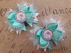 2x Girl's Disney frozen Elsa aqua boutique hair bow 4 inch #Handmade