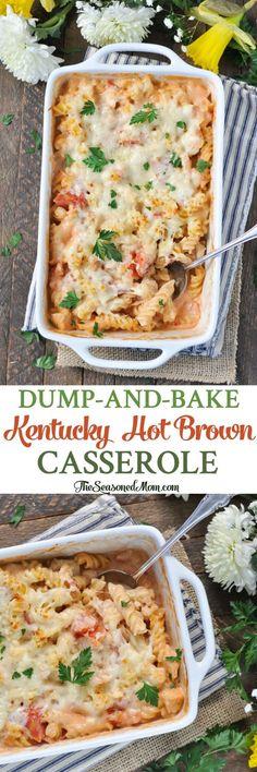 Dump-and-Bake Kentucky Hot Brown Casserole! Derby Party   Easy Dinner Recipes   Dinner Ideas   Pasta Recipes   Chicken Recipes   Turkey Recipes   Casserole Recipes #casseroledinner #easydinner #TheSeasonedMom