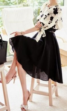 Super Cute! Love the Dress! Love the Heels! Black and White Flowers Embroidery 2-in-1 Lantern Sleeve Dress